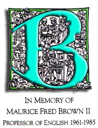 Maurice Brown Bookplate. Text reads: In Memory of Maurice Fred Brown II Professor of English 1961-1985