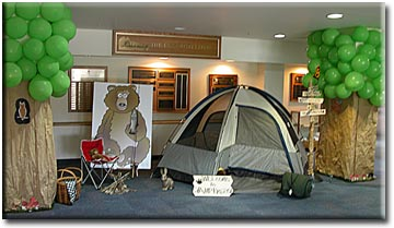 Photo of library foyer with camping gear set up