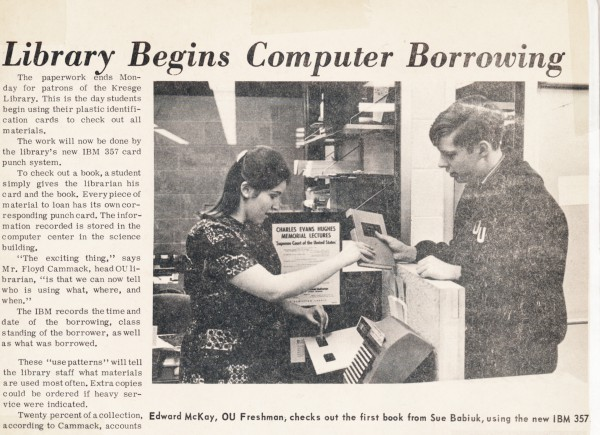 Newspaper clipping with student checking out library book using automated system