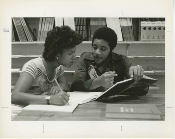 Students studying in Kresge Library