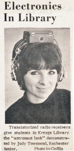 Woman wearing transistor headset