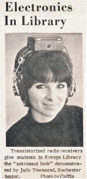 Woman wearing transistor headset