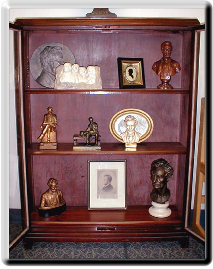 Cabinet containing Lincoln memorabilia