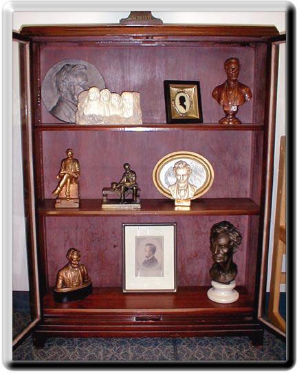 Cabinet containing Lincoln memorabilia