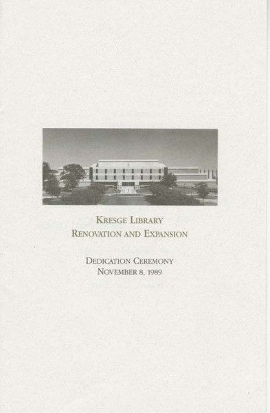 Program for Kresge Library Renovation and Expansion dedication c