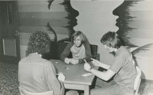 Students palying cards in the OC in the 1970s