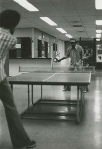 Students playing ping pong in the OC in the 1970s